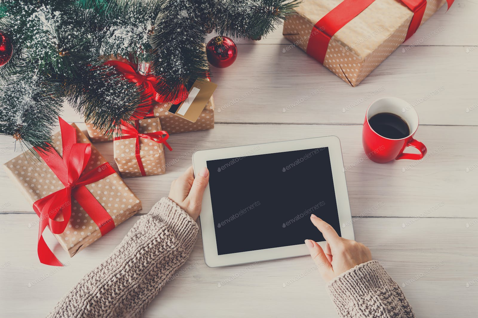 Woman Christmas Shopping Online With A Credit Card Photo By Prostock Studio On Envato Elements