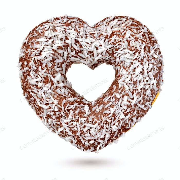 Chocolate heart shape donut isolated on white background