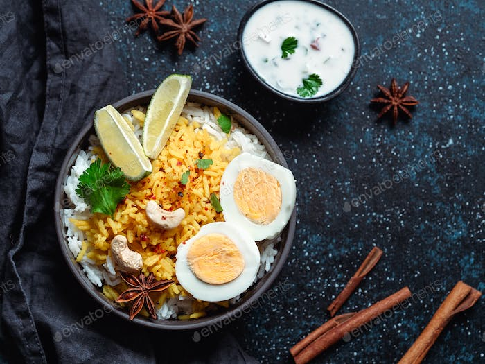 Indian Egg Biryani or anda rice, copy space