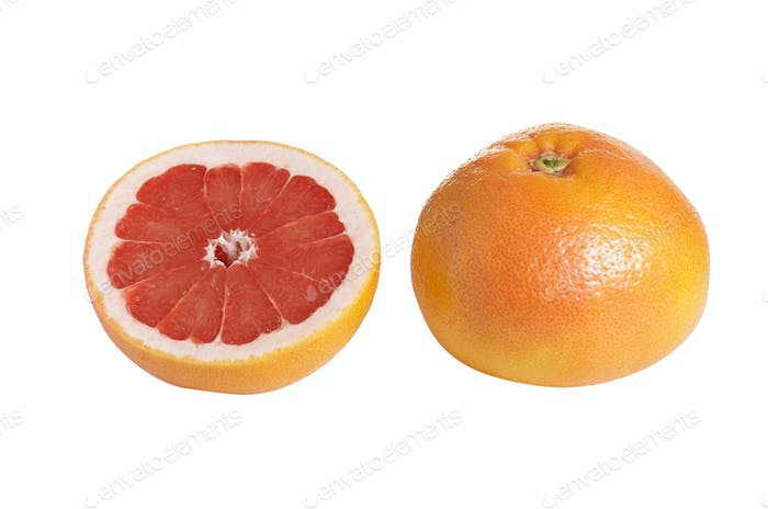 Whole and one piece of grapefruit on a white.