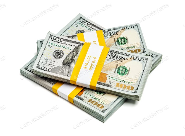 Bundles of 100 US dollars 2013 edition banknotes