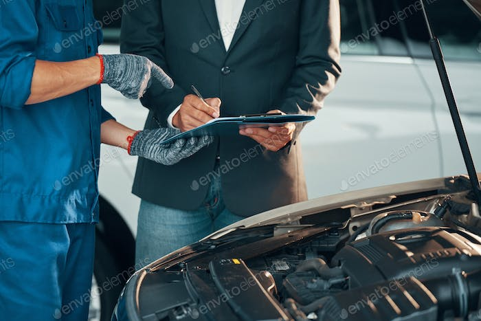 Car repair in auto service