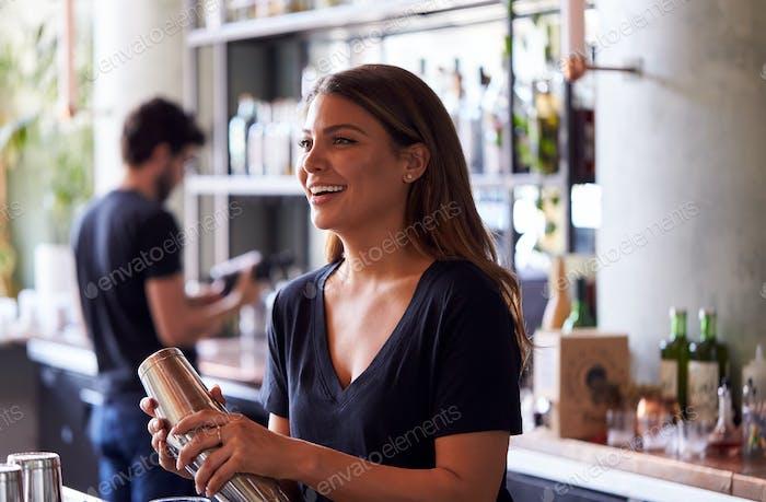 Weibliche Barkeeper Mixing-Cocktail In Shaker hinter Bar