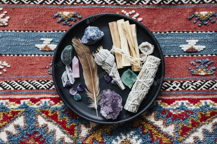 Sage and crystals for smudging