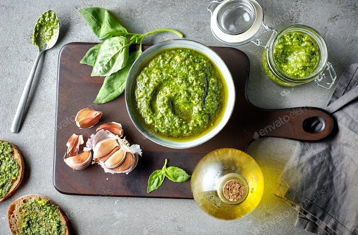 bowl of basil pesto