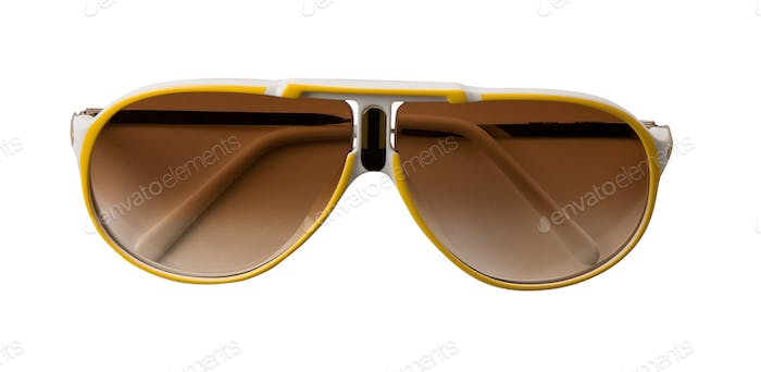Yellow and white rimmed sportive sunglasses