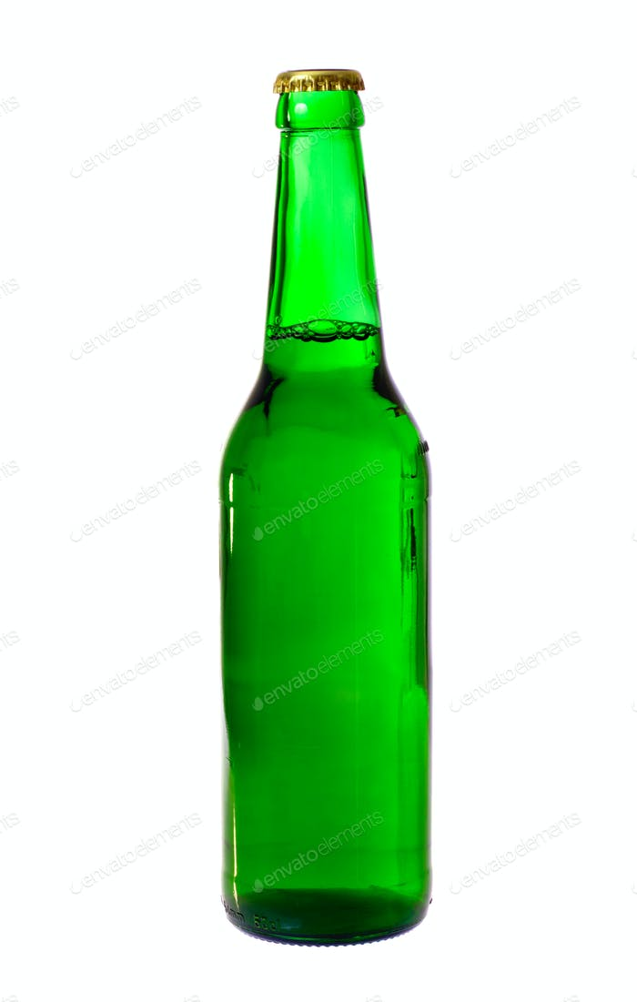 Green Bottle Of Beer Isolated