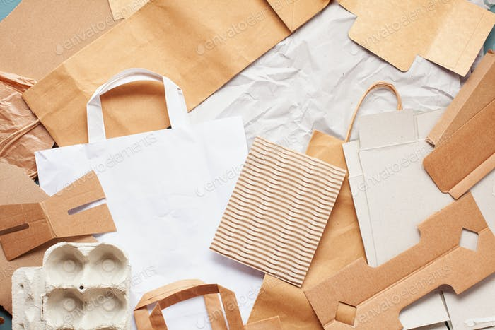 Flat lay of paper wastes ready for recycling