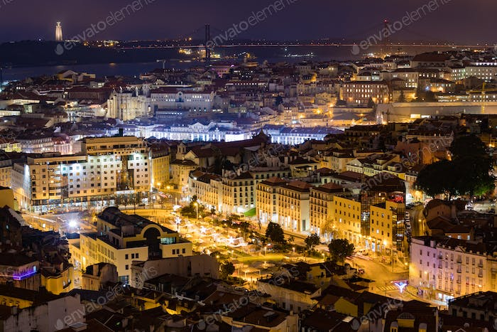 Nightfall in center of Old Town Lisbon Portugal EU