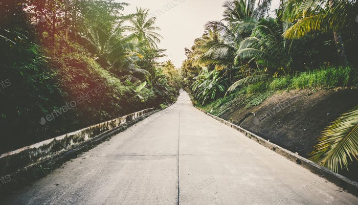 Road on tropical island - vintage retro style