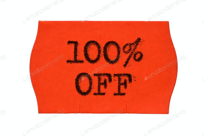 100 OFF percent Sale red price tag sticker isolated