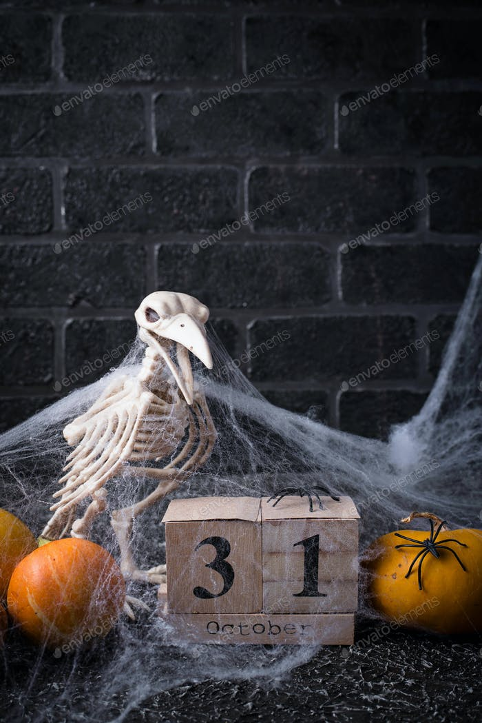 Halloween background with wooden calendar