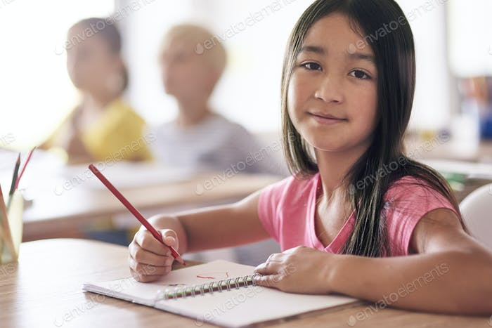 Portrait of a girl during the lesson