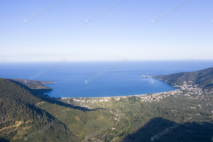 Golden beach aerial view, Thassos, Greece.
