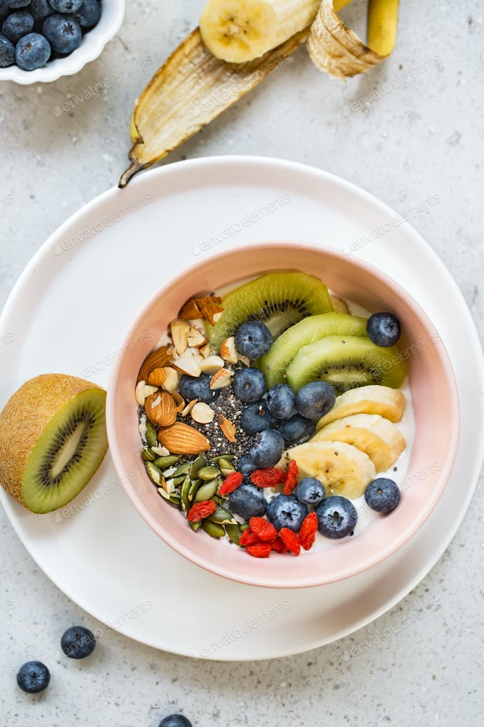 Yogurt with fresh fruits and Nut