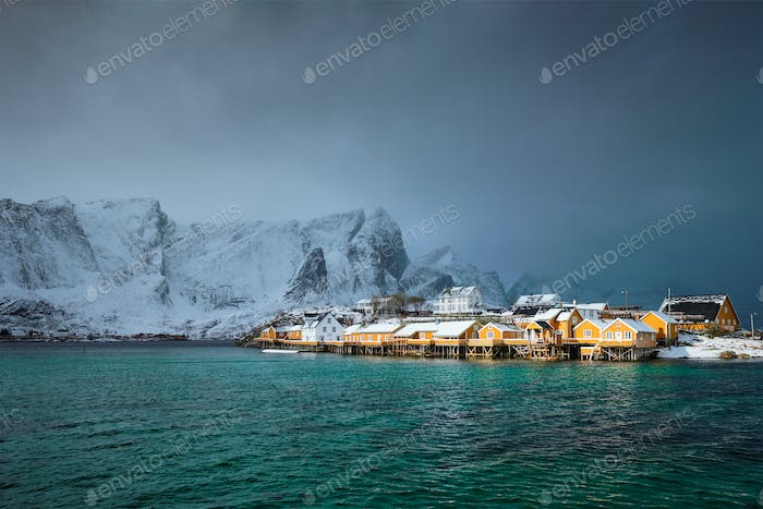 Yellow rorbu houses, Lofoten islands, Norway