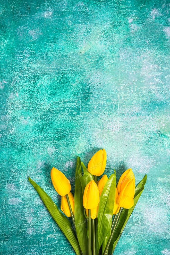 Yellow tulips on vibrant background.Easter or Spring template