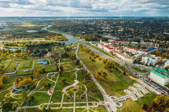 Mahiliou, Belarus. Mogilev Cityscape And Podnikol'skiy Park. Aerial View Of Skyline In Autumn