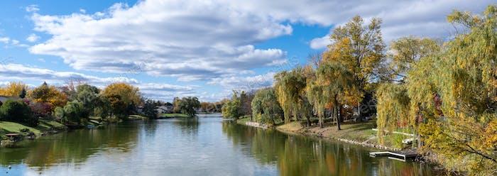 Falls colors along the river in rural landscape