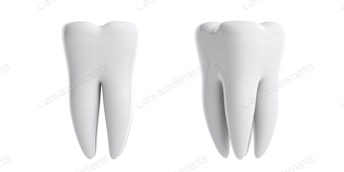 Clean shiny teeth isolated cutout on white background. 3d illustration