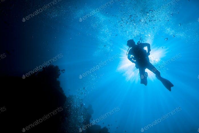 diver in sunburst silhouette