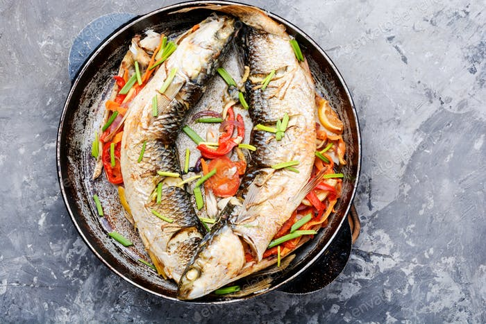 Tasty baked whole fish