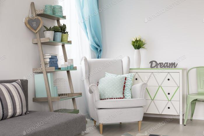 Room with creative shelves, armchair and sofa