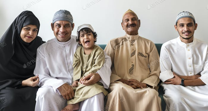 Portrait of a happy Middle Eastern family
