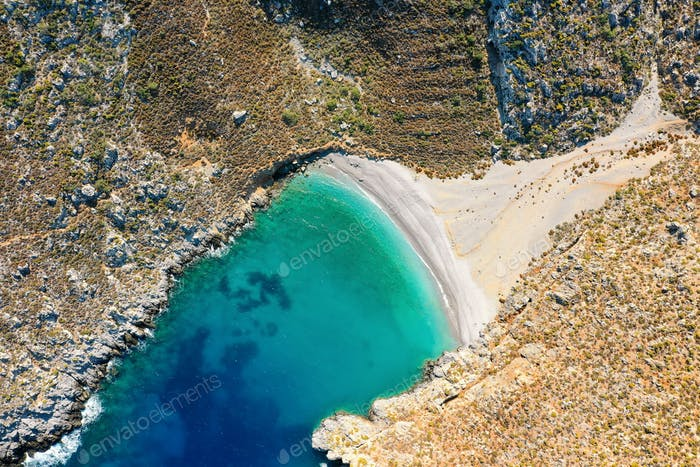 Bird's eye view of bay with beautiful beach near Sikati cave