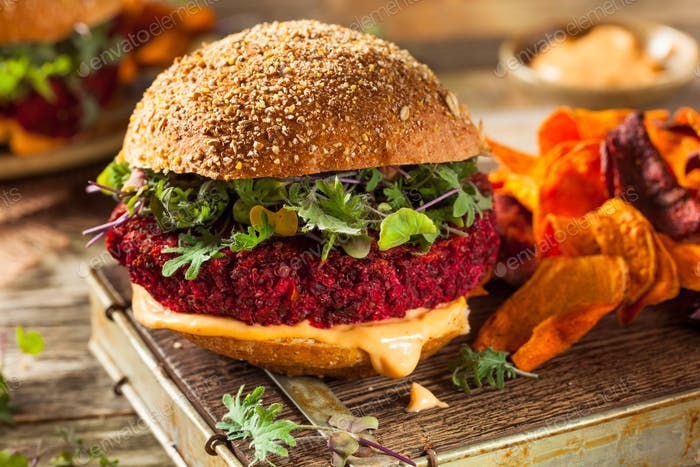 Healthy Baked Red Vegan Beet Burger