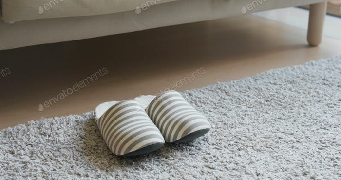 Pair of soft slipper at home
