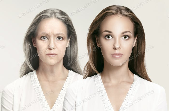 Comparison. Portrait of beautiful woman with problem