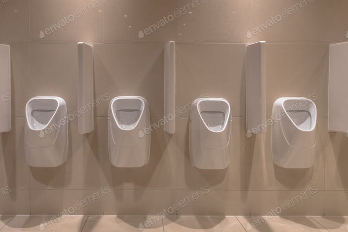 Row of modern Urinals
