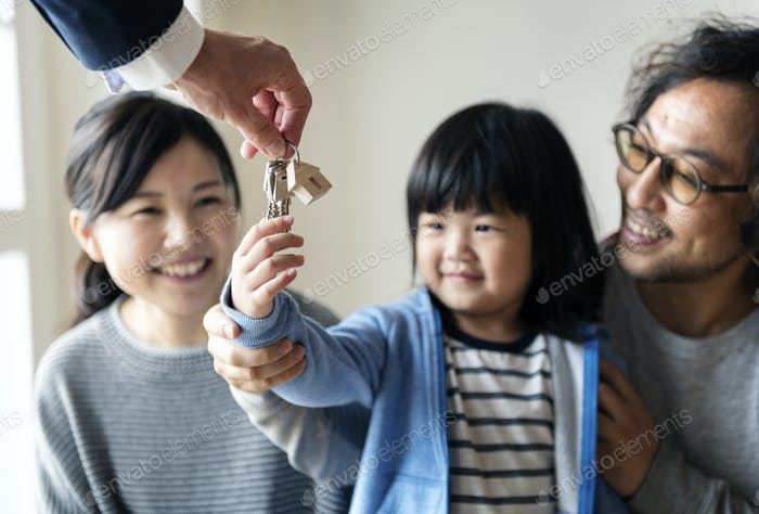 Asian family buy new house