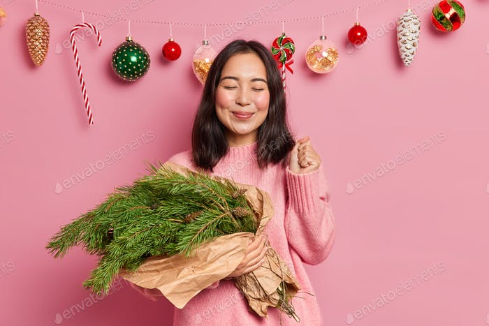 Pretty young Asian woman clenches fist and awaits New Year holds evergreen fir tree branches arrange
