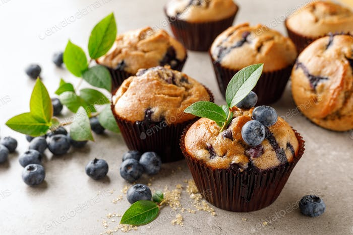 Blueberry muffins with fresh berries