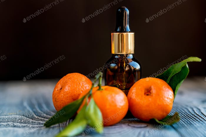 Dropper bottle of mandarin essential oil