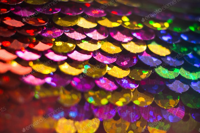 Shiny colorful sequin dress detail texture