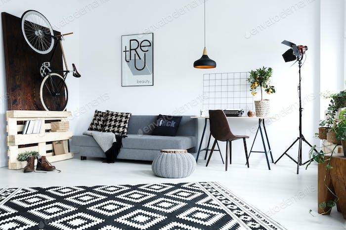 Modern, white apartment with sofa