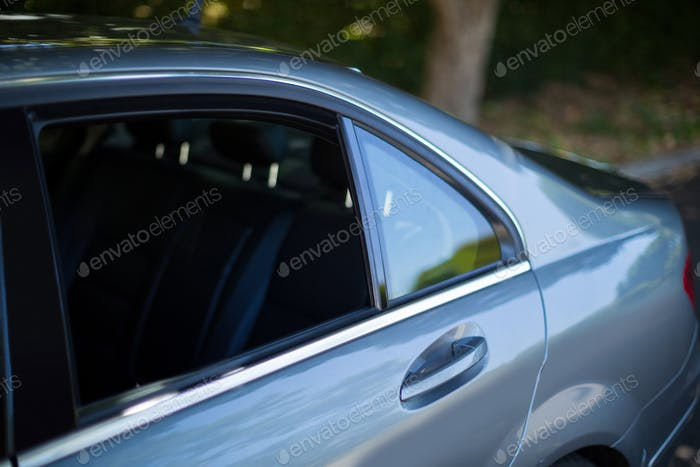 Cropped image of gray car