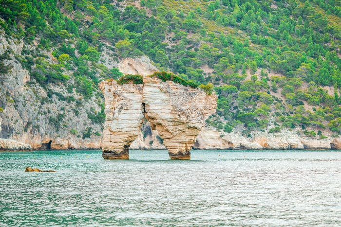 Mattinata Faraglioni stacks and beach coast of Mergoli, Vieste Gargano, Apulia, Italy