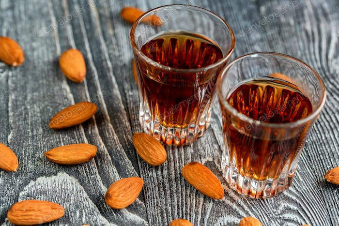 Italian amaretto liqueur with dry almonds