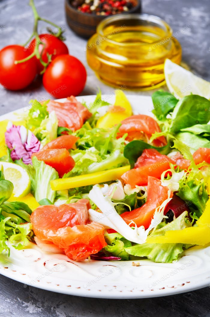Fish salad with salmon and vegetables