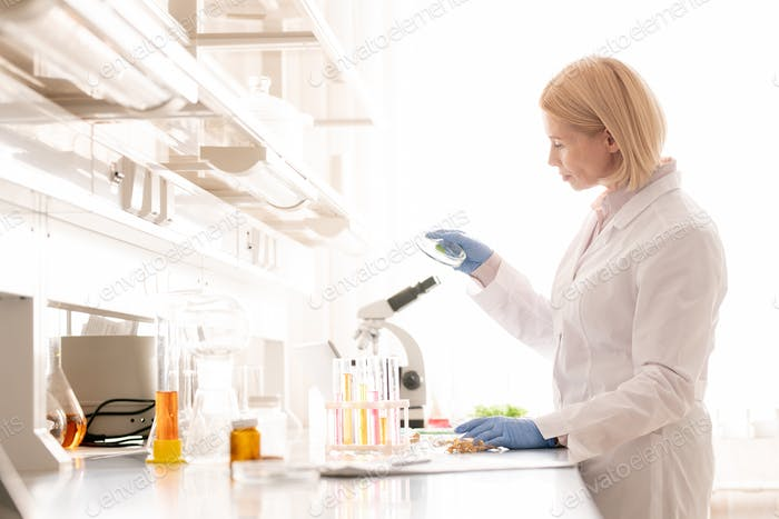 Modern lady researching sample