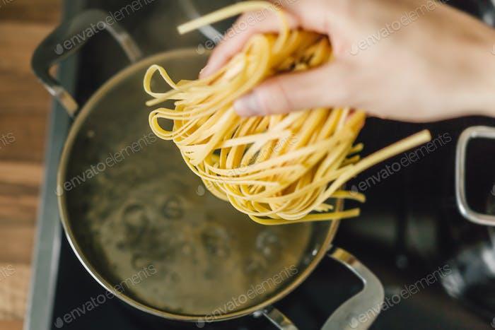 Closeup of cooking tasty pasta