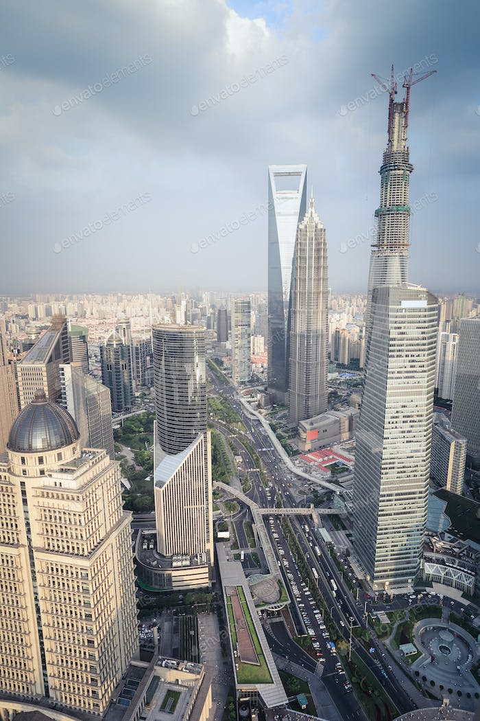 aerial view of shanghai midtown