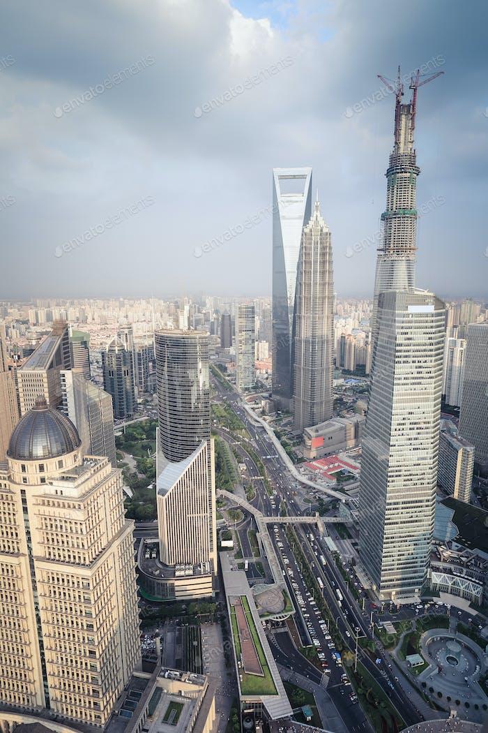 Luftaufnahme von Shanghai Midtown