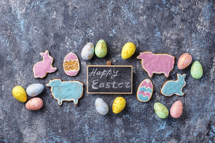 Easter cookie in shape of bunny and sheep