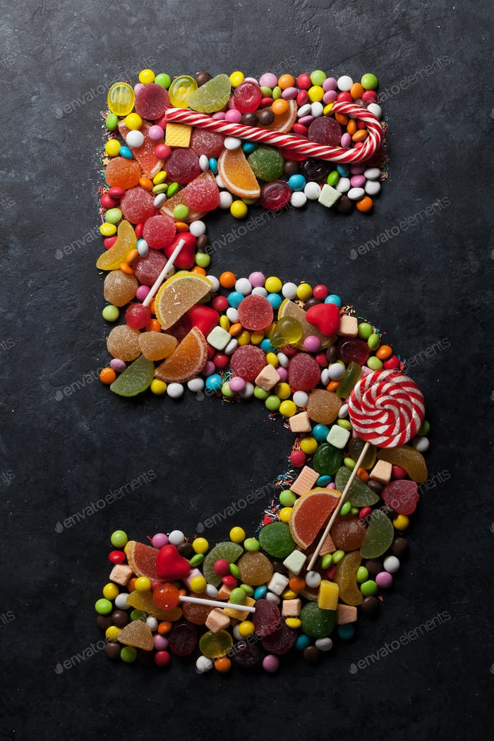 Number five made from candies