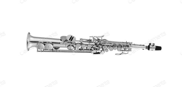 Soprano Saxophone isolated on white background